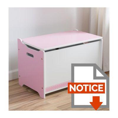 Delta kids coffre jouets enfant en bois rose et blanc - Coffre a jouet rose ...