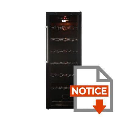 Mode d'emploi CONTINENTAL EDISON CWC119 - Cave à vin de service - 120 bouteilles - pose libre - Classe E - L 50 x H 142 cm -