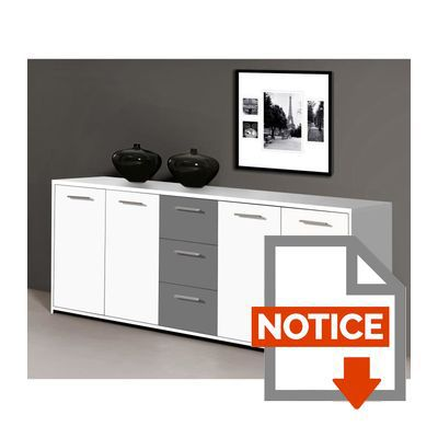 finlandek buffet bas pilvi contemporain blanc et gris l 179 cm achat vente buffet bahut. Black Bedroom Furniture Sets. Home Design Ideas
