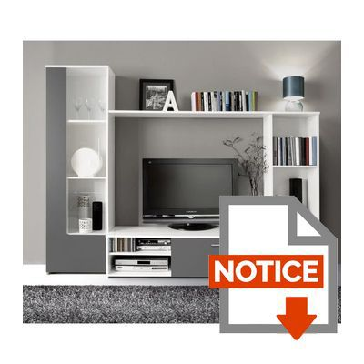 finlandek meuble tv mural pilvi contemporain blanc et gris l 220 cm achat vente meuble tv. Black Bedroom Furniture Sets. Home Design Ideas