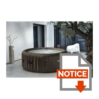 intex pure spa rond gonflable jets 4 places 196x71cm marron achat vente spa complet. Black Bedroom Furniture Sets. Home Design Ideas