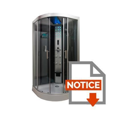 Cabine de douche hydromassante skadi 1 4 cercle 100 cm montage sans silicon - Douche sans silicone ...