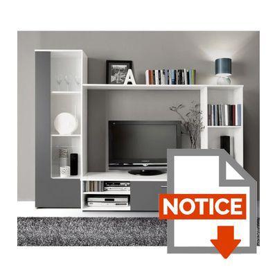 Finlandek meuble tv mural pilvi contemporain blanc et gris - Meuble tv mural blanc ...